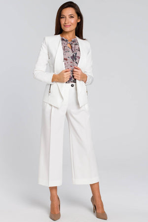 Ecru Tailored Blazer With Zips - So Chic Boutique