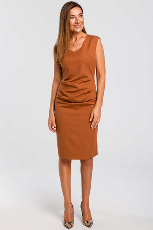 Ginger Sleeveless Midi Dress With Gathered Front - So Chic Boutique