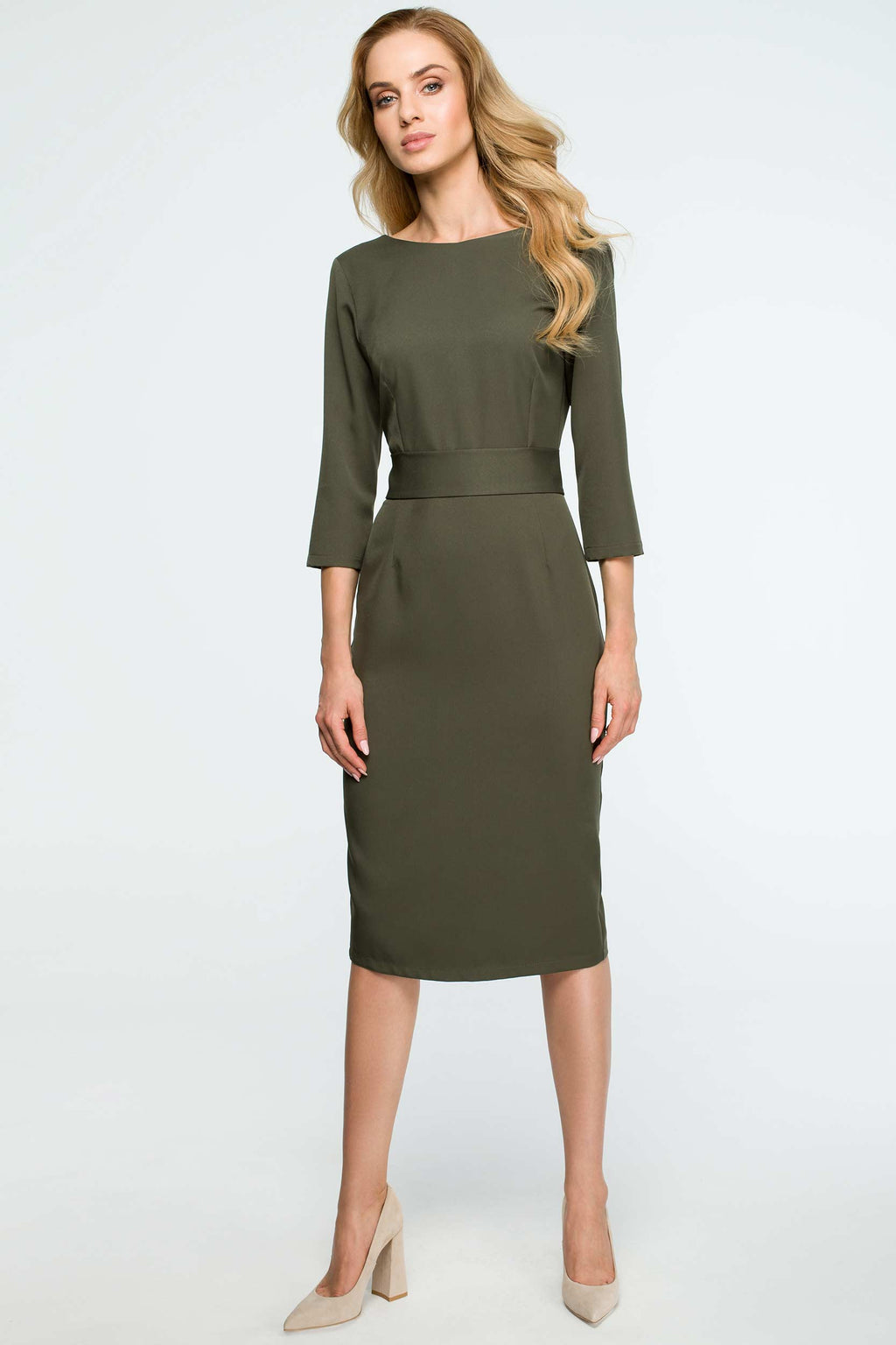 Khaki Midi Buttoned Down Dress