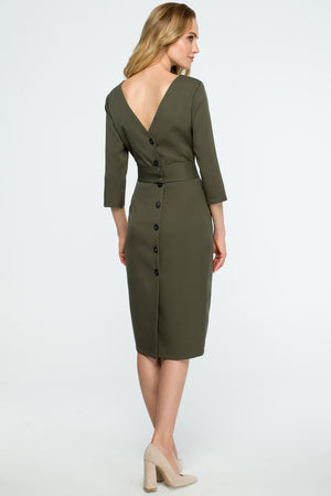 Khaki Midi Buttoned Down Dress - So Chic Boutique