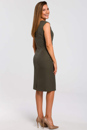 Khaki Sleeveless Midi Dress With Gathered Front - So Chic Boutique