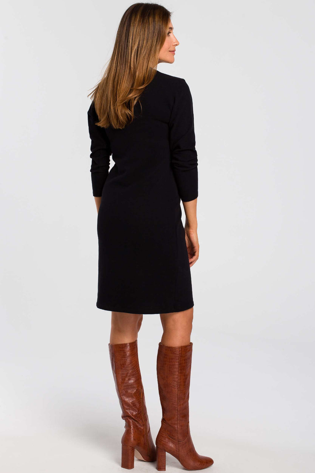 Long Sleeve Midi Black Cotton Sweater Dress - So Chic Boutique