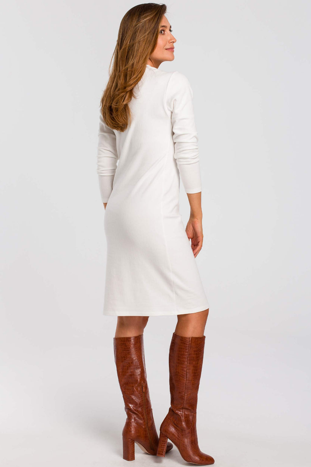Long Sleeve Midi Ecru Cotton Sweater Dress - So Chic Boutique