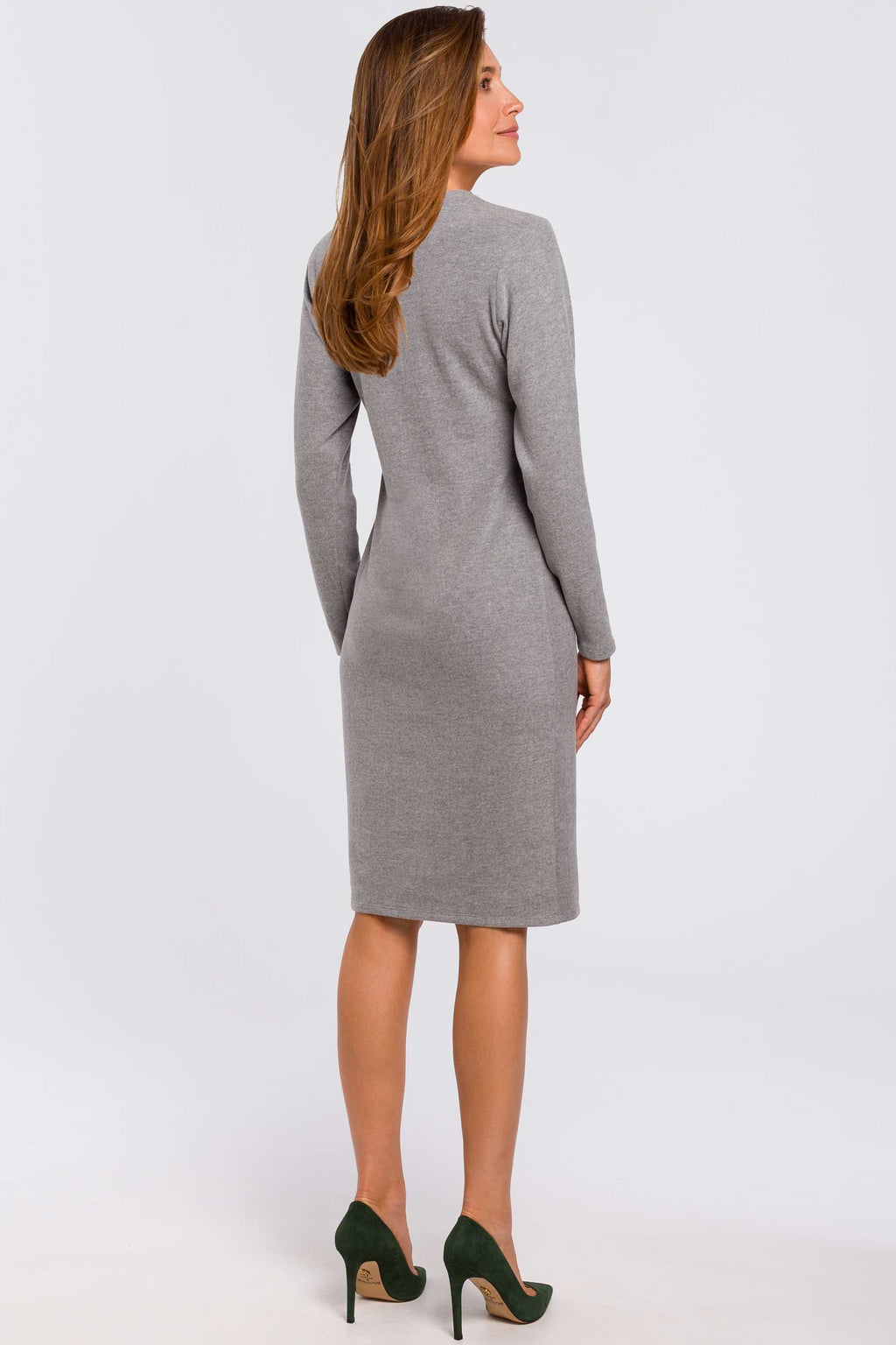 Long Sleeve Midi Grey Cotton Sweater Dress - So Chic Boutique