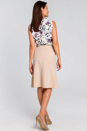 Midi Beige Ruffle Hem Skirt - So Chic Boutique