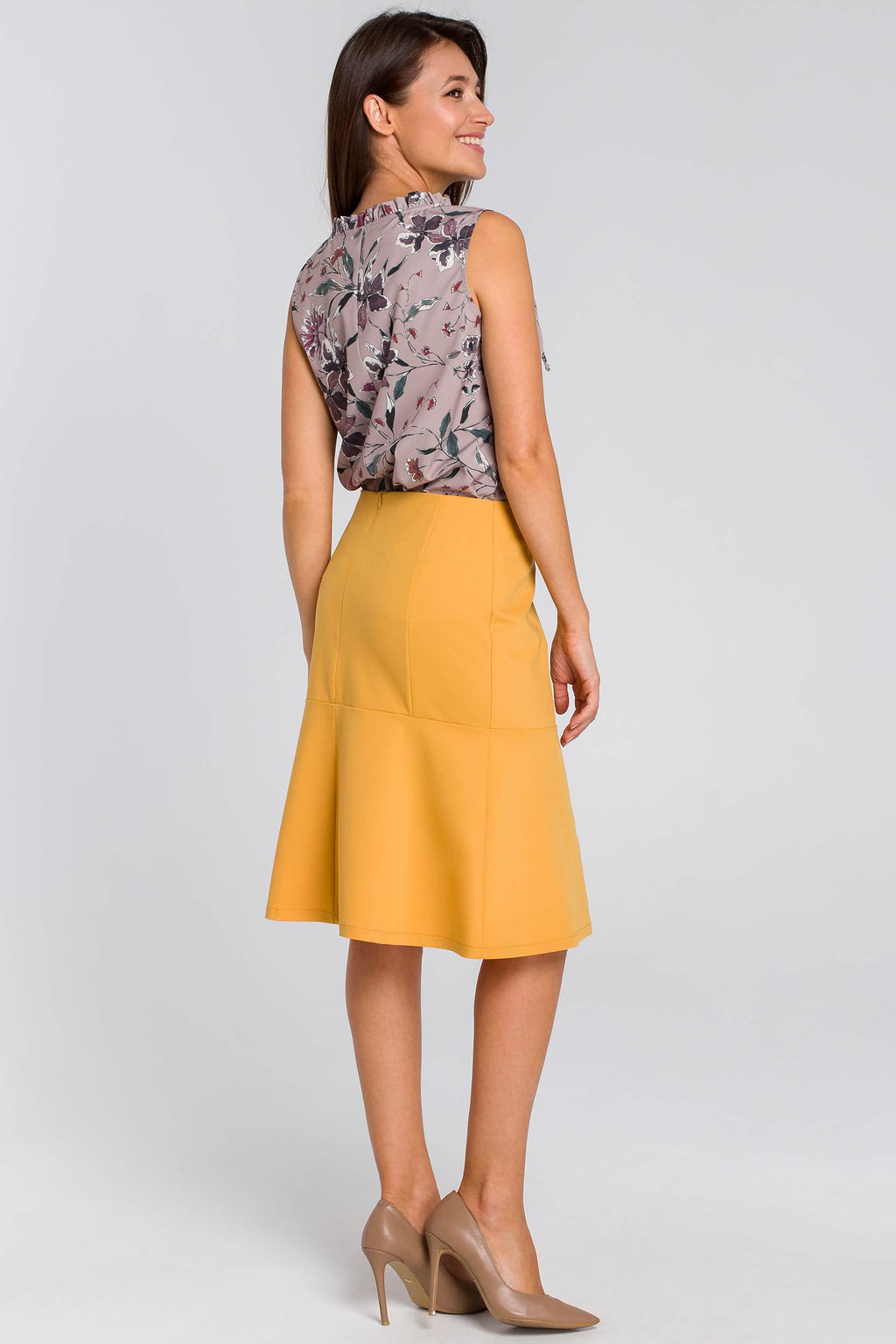 Midi Yellow Ruffle Hem Skirt