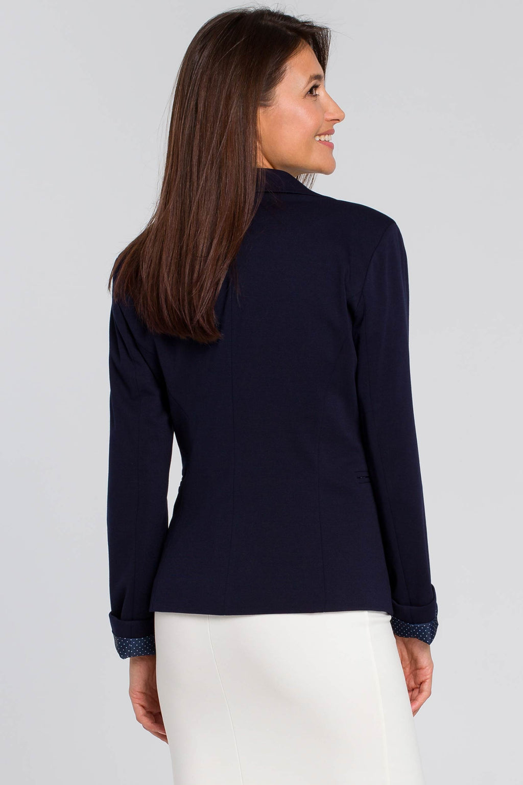 Navy Blue Cotton Blazer With Dotted Lining - So Chic Boutique