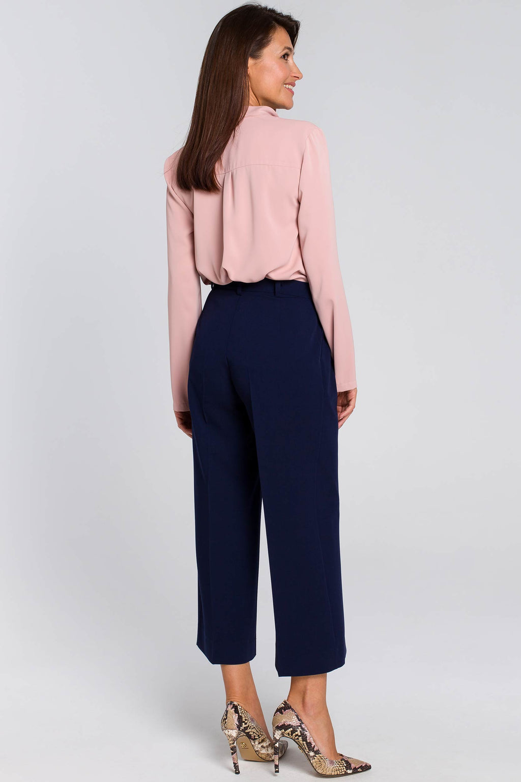 Navy Blue Culottes With Pleated Waist - So Chic Boutique