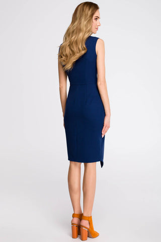 Navy Blue Faux Wrap Sleeveless Dress