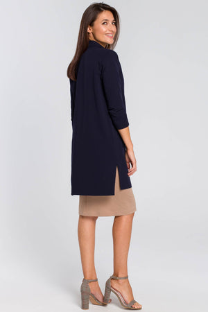 Navy Blue Long Blazer With Side Slits And 7/8 Sleeves - So Chic Boutique