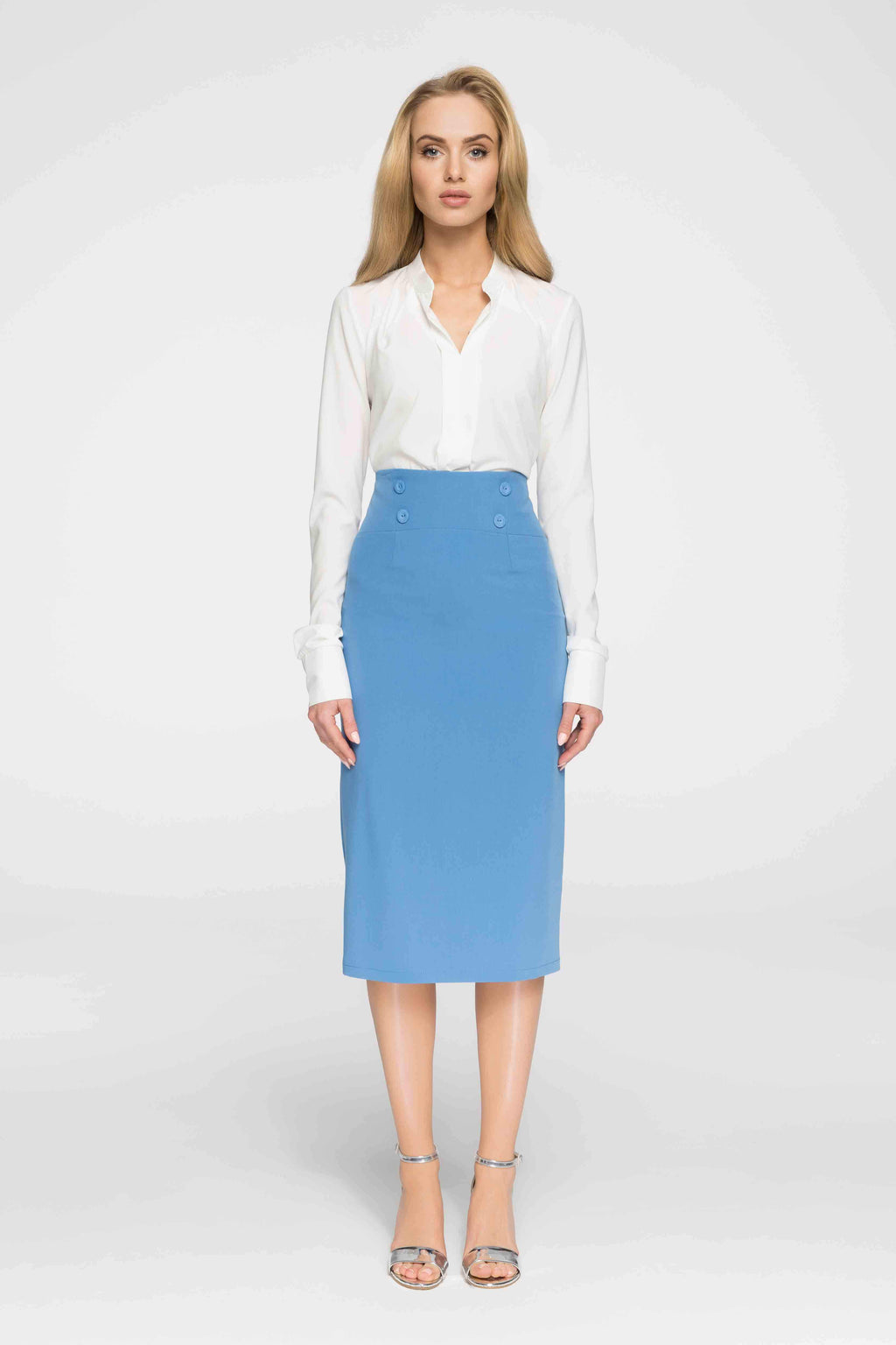 Sky Blue High Waist Midi Skirt With Buttons