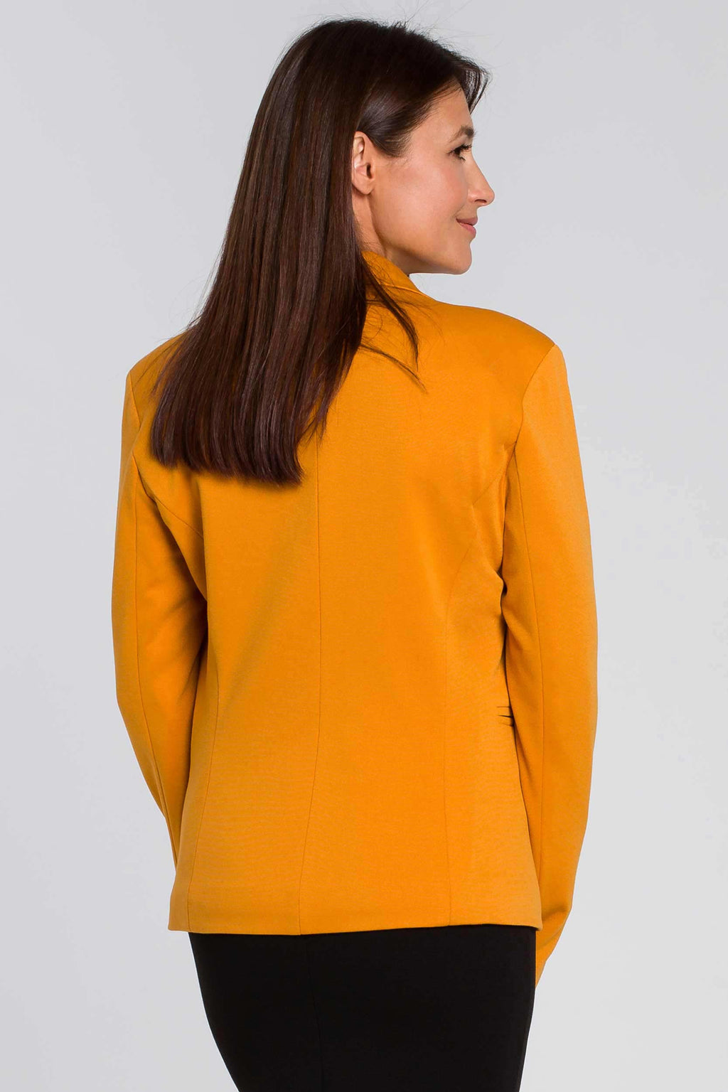 Yellow Cotton Blazer With Dotted Lining - So Chic Boutique