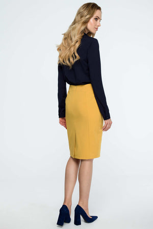 Yellow Pencil Skirt With Figure Skimming Front Seams - So Chic Boutique