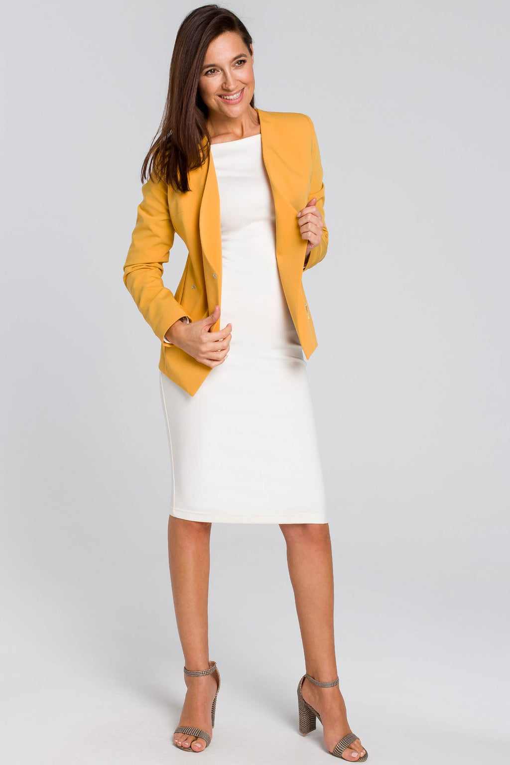 Yellow Tailored Blazer With Zips - So Chic Boutique