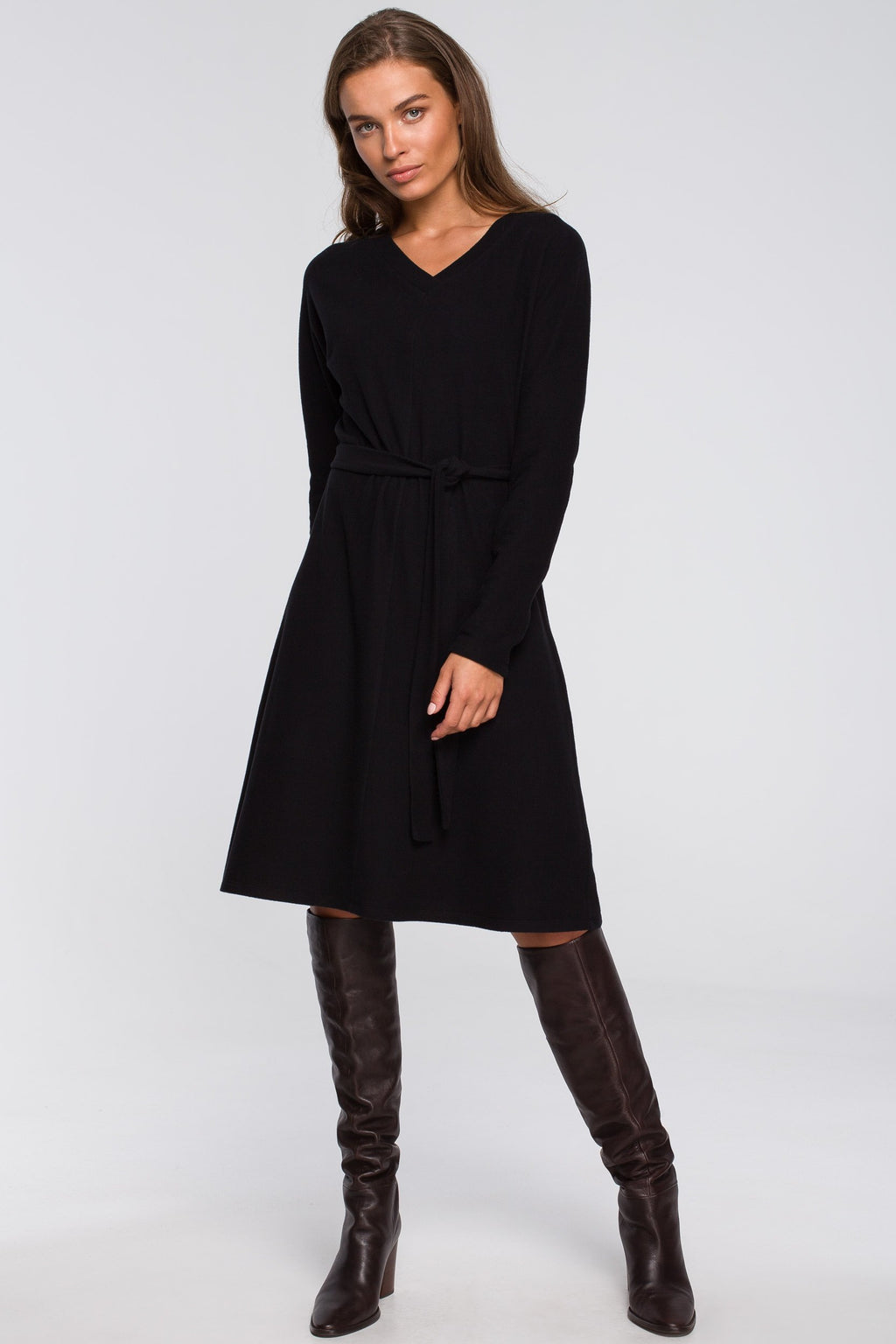 Black A Line Viscose Dress With A Belt - So Chic Boutique