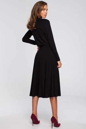 Black Viscose Midi Flare Dress With Front Split - So Chic Boutique