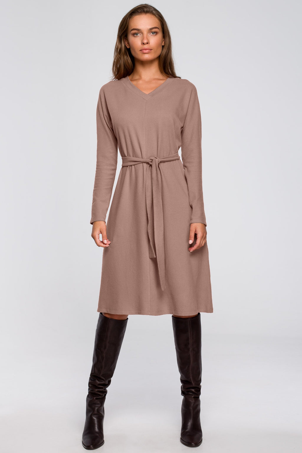 Beige A Line Viscose Dress With A Belt - So Chic Boutique