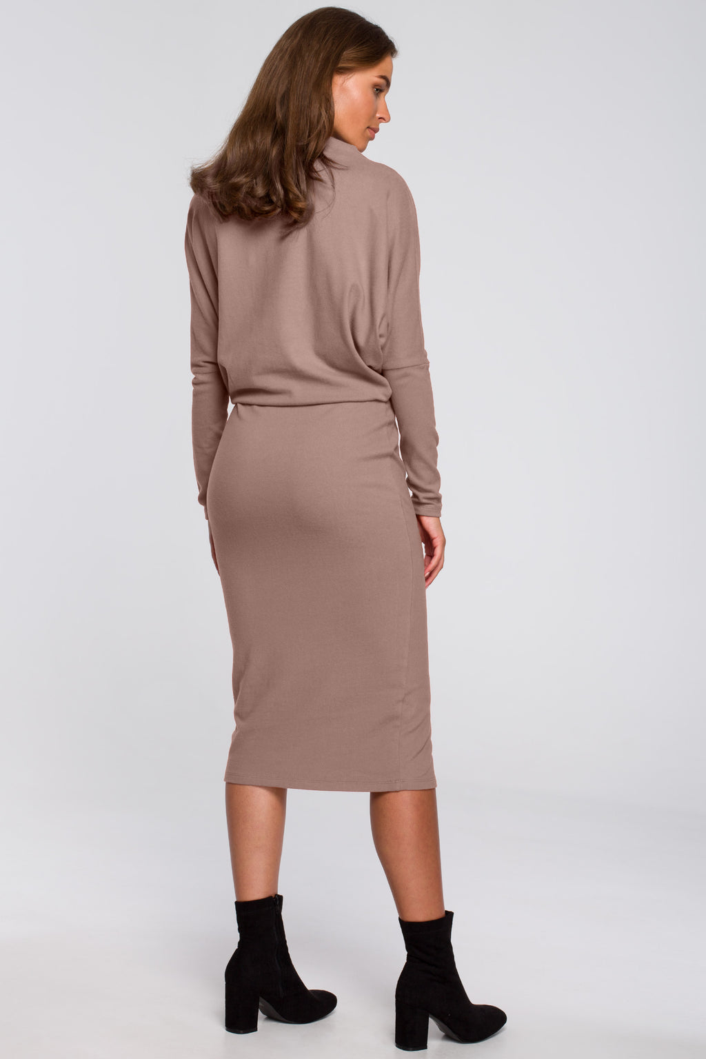 Beige Viscose Midi Dress With Draped Neckline - So Chic Boutique