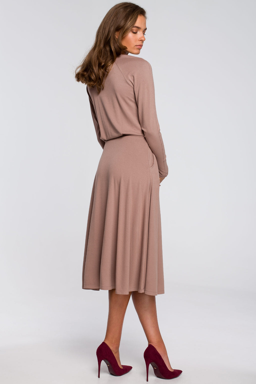 Beige Viscose Midi Flare Dress With Front Split - So Chic Boutique