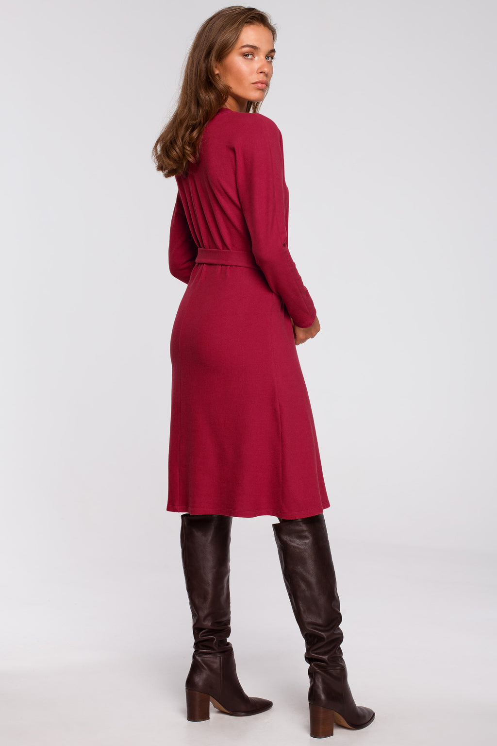 Cherry Red A Line Viscose Dress With A Belt - So Chic Boutique