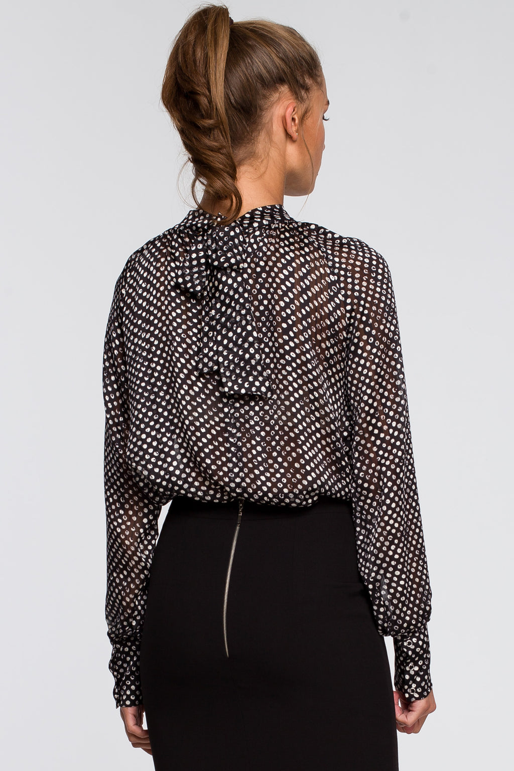 Chiffon Black Polka Print Blouse With Tied Back - So Chic Boutique