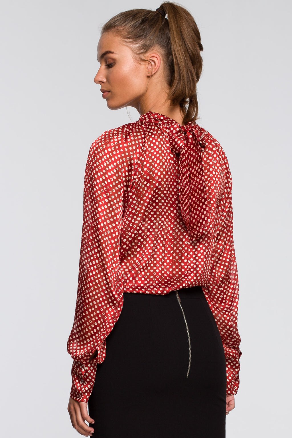 Chiffon Red Polka Print Blouse With Tied Back - So Chic Boutique