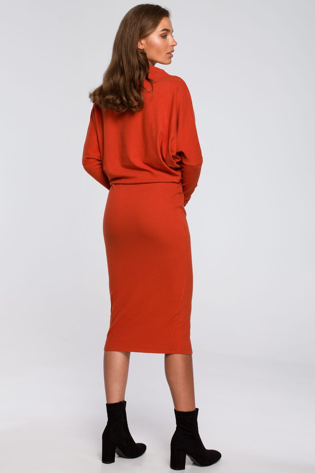 Ginger Cotton Midi Dress With Draped Neckline - So Chic Boutique