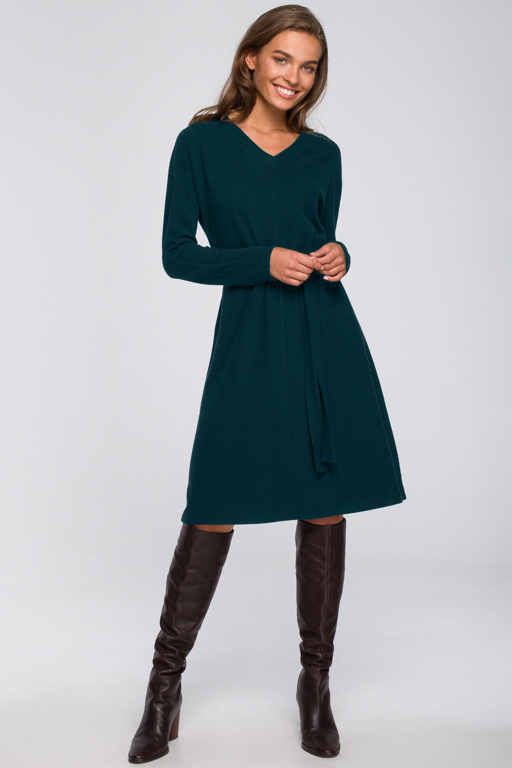 Green A Line Viscose Dress With A Belt - So Chic Boutique