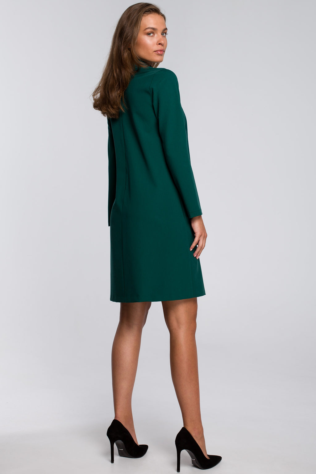 Green Shift Dress With Chiffon Scarf - So Chic Boutique