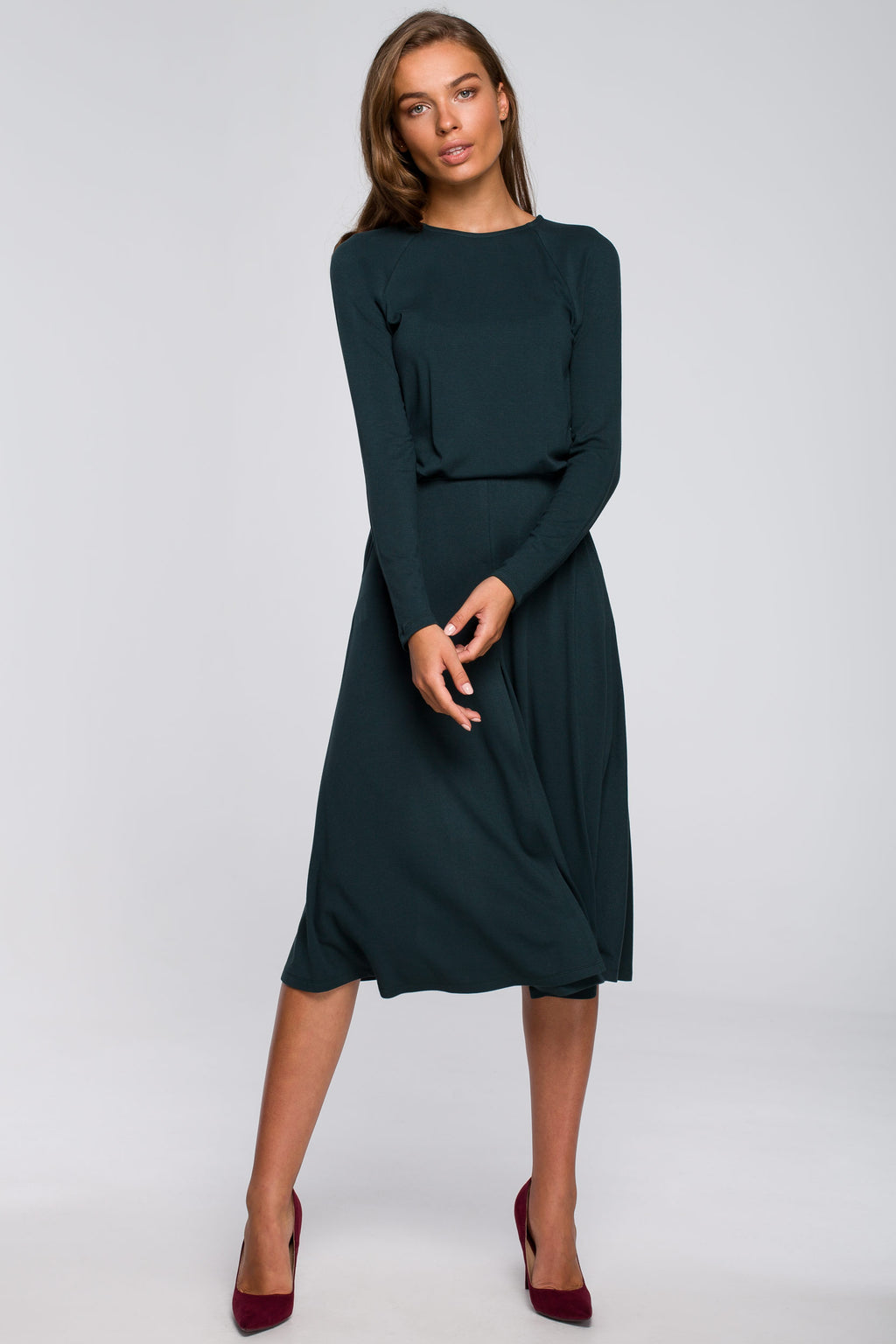 Green Viscose Midi Flare Dress With Front Split - So Chic Boutique