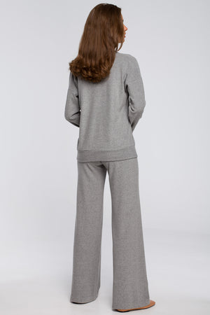 Grey Cotton Wide Leg Lounge Trousers - So Chic Boutique