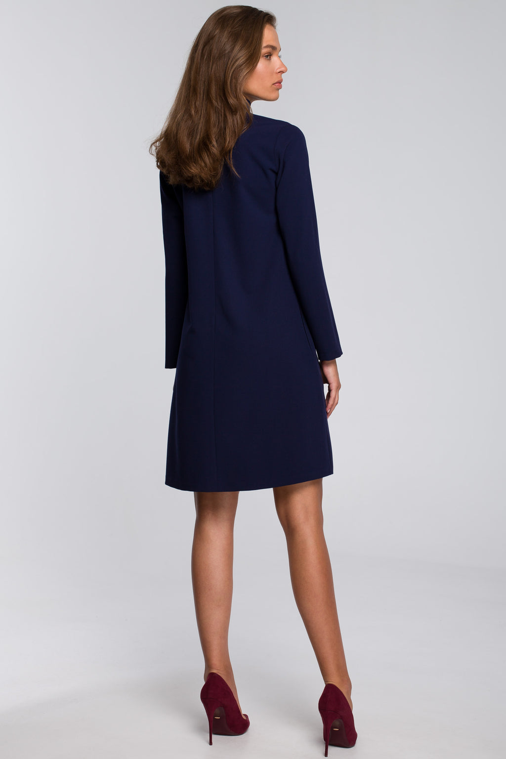 Navy Blue Shift Dress With Chiffon Scarf - So Chic Boutique