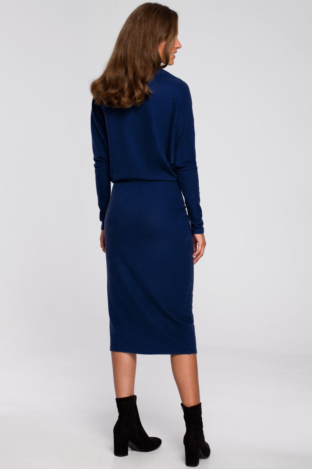 Navy Blue Viscose Midi Dress With Draped Neckline - So Chic Boutique