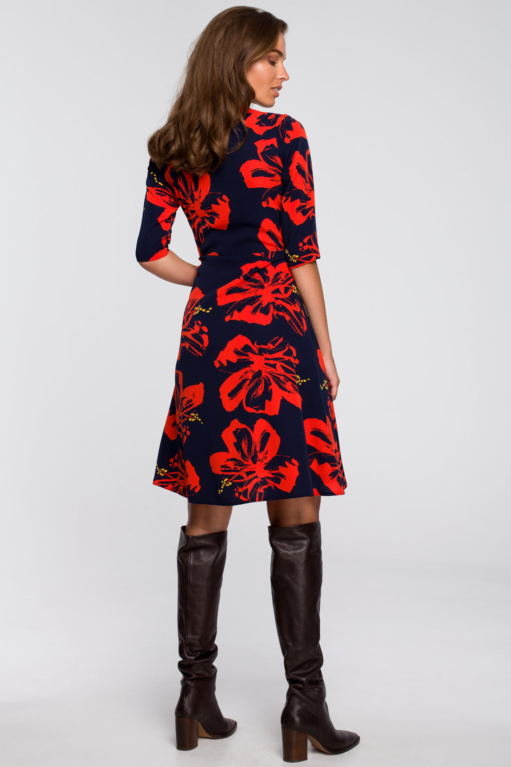 Wrap A Line Navy Blue Dress With Red Floral Print - So Chic Boutique
