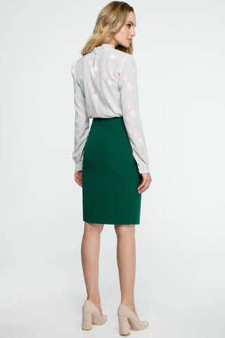 Green Pencil Skirt With A Wrap