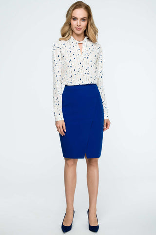 Royal Blue Pencil Skirt With A Wrap