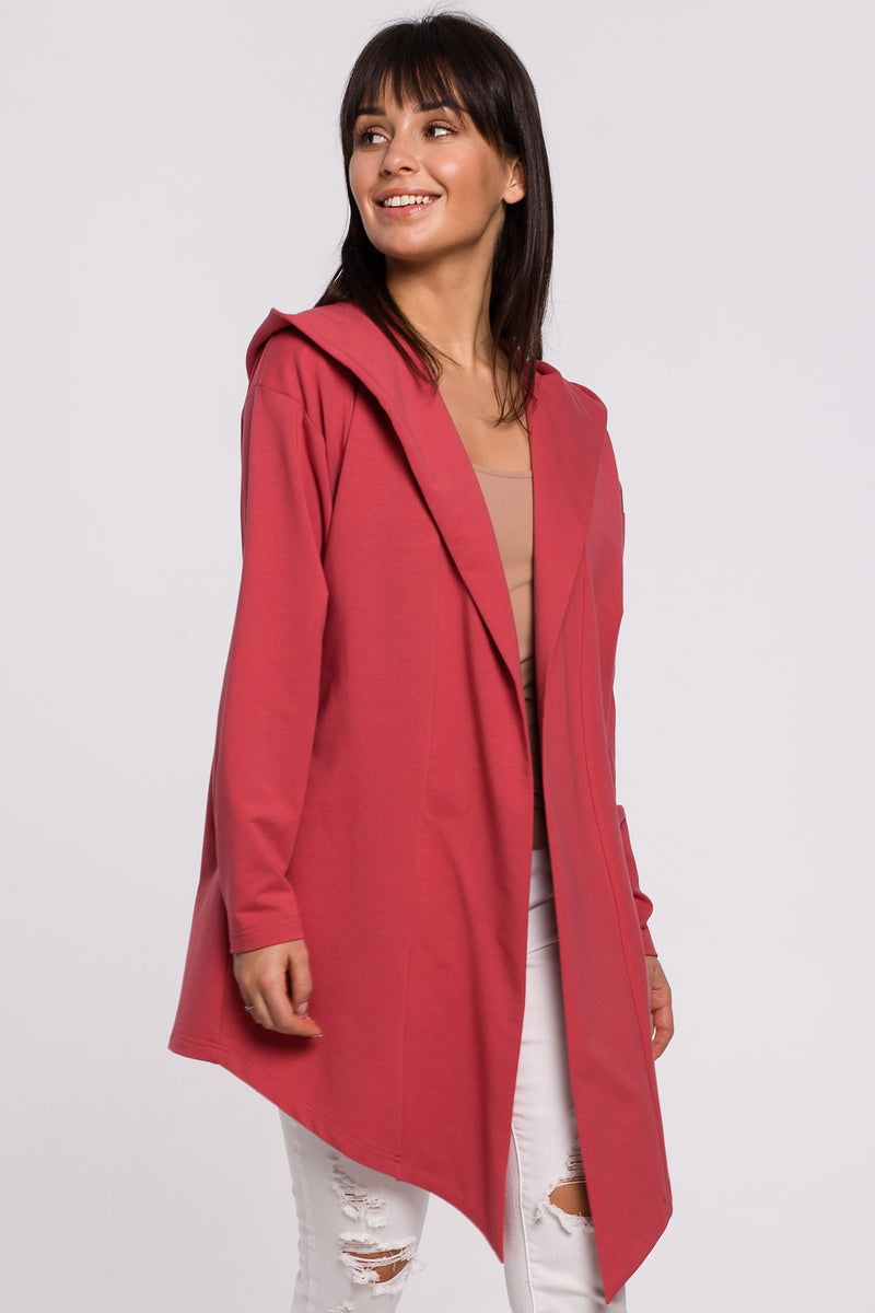 Coral Cotton Jacket With A Hood - So Chic Boutique