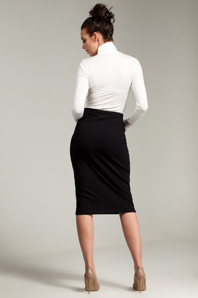 Black Pencil Skirt With Elasticized Waist And Side Pockets