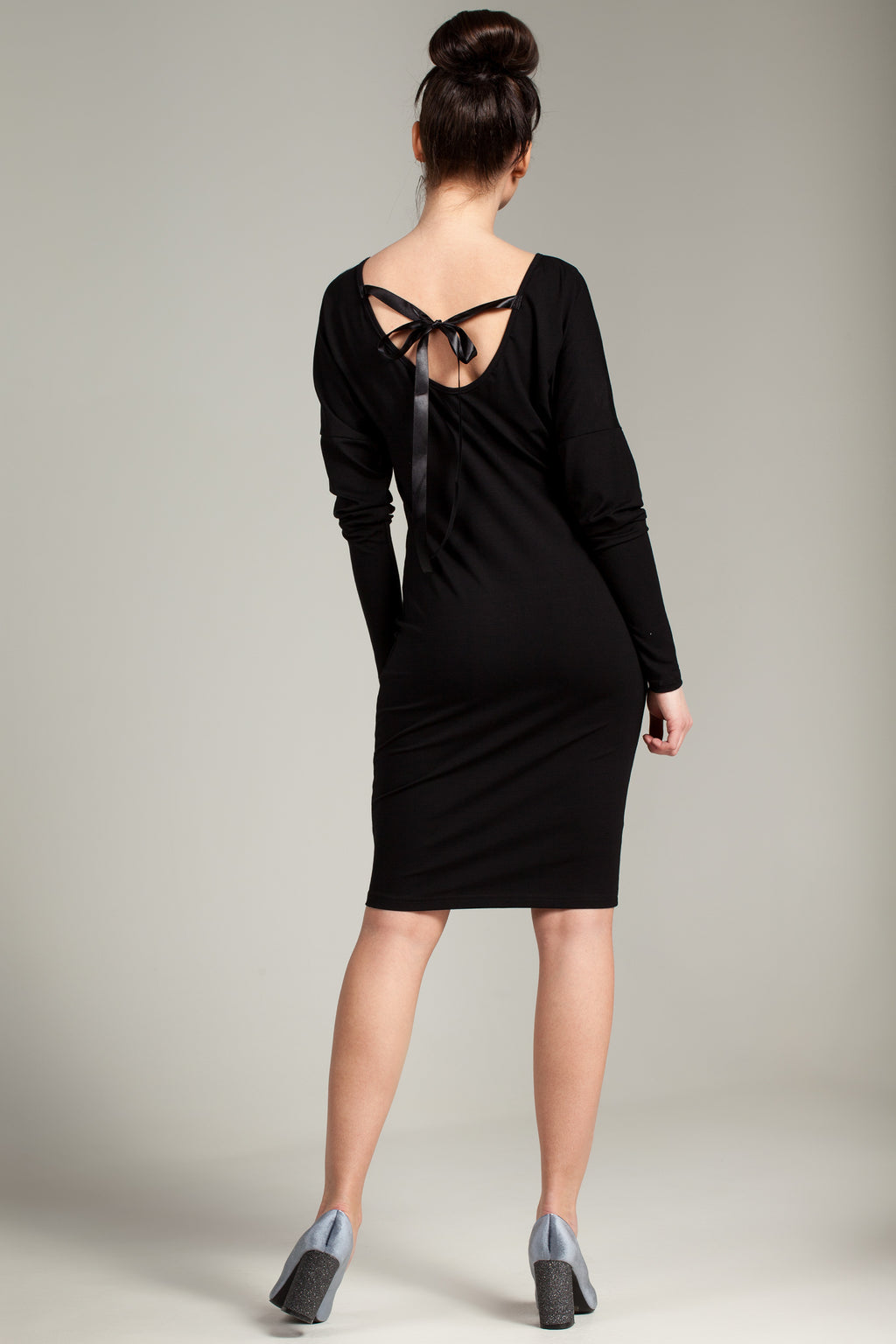 Black Tie Back Batwing Sleeve Viscose Dress - So Chic Boutique