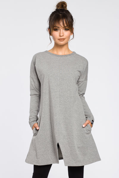 Grey Knit Tunic Dress With A Front Split