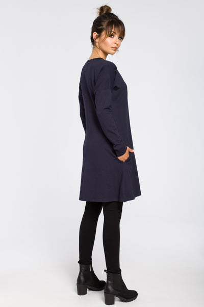 Navy Blue Knit Tunic Dress With A Front Split