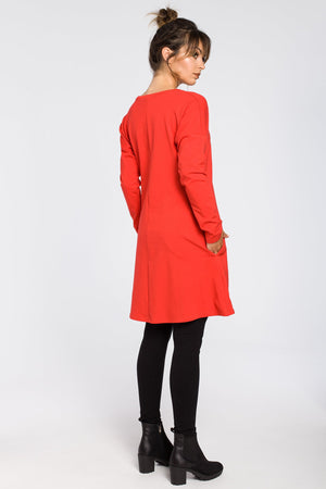 Red Cotton Tunic Dress With A Front Split - So Chic Boutique