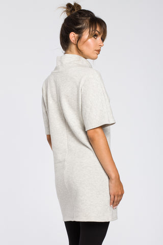 Light Grey Tunic Dress With A Front Pocket And High Collar