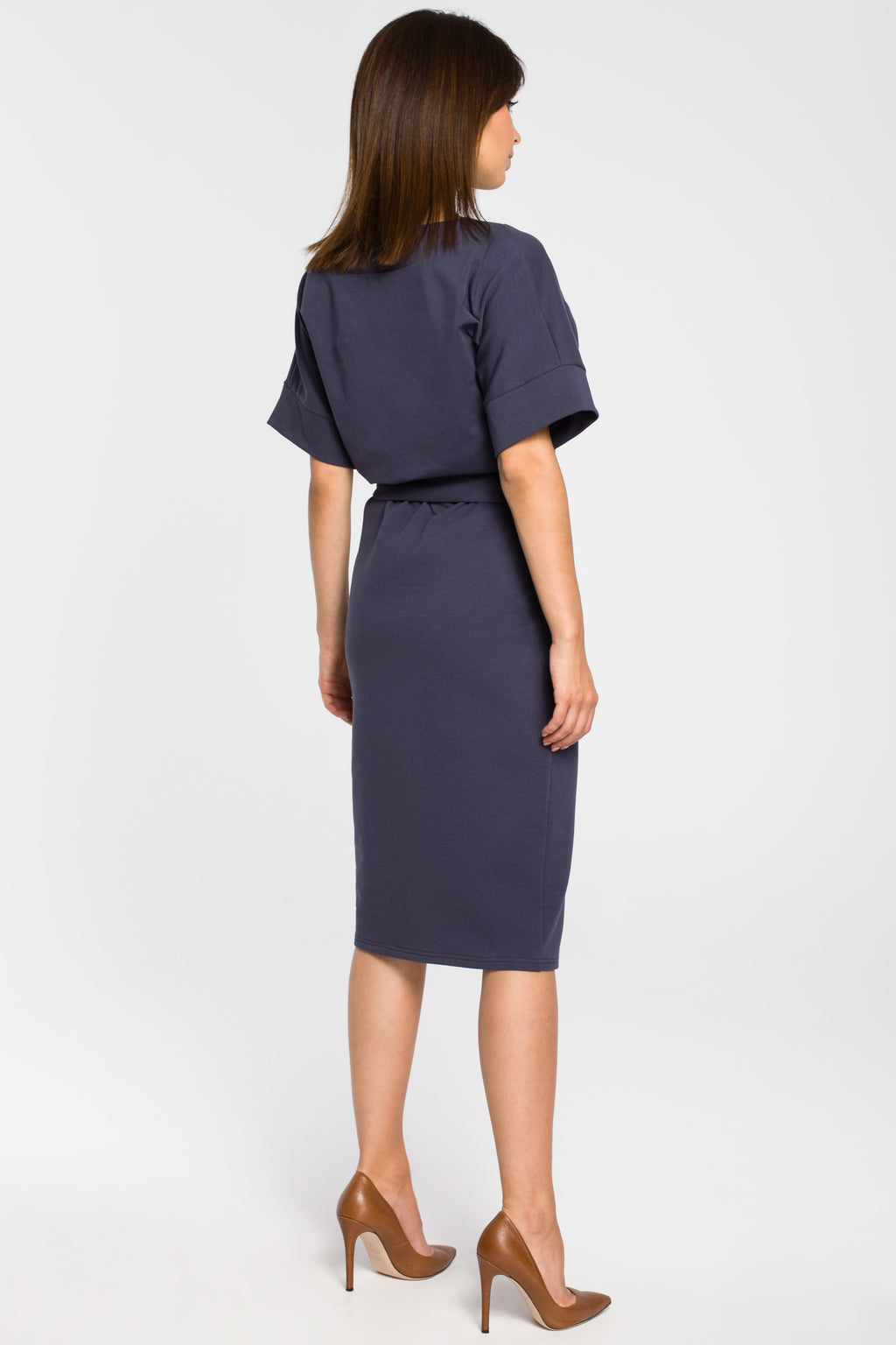 Blue Cotton Midi Dress With A Front Split - So Chic Boutique