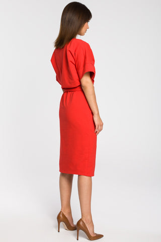 Red Knit Midi Dress With A Front Split