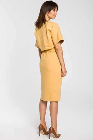 Yellow Knit Midi Dress With A Front Split