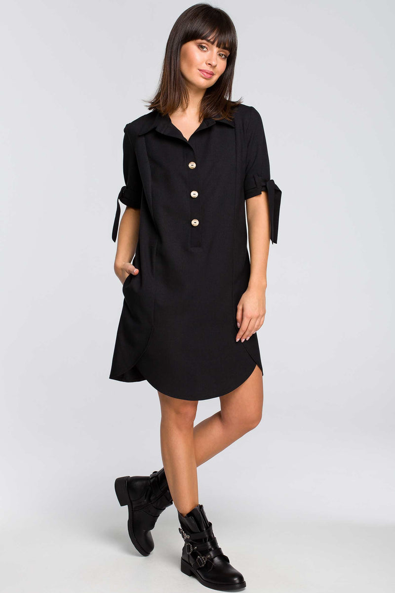 Black Tunic Dress With Short Tied Sleeves - So Chic Boutique