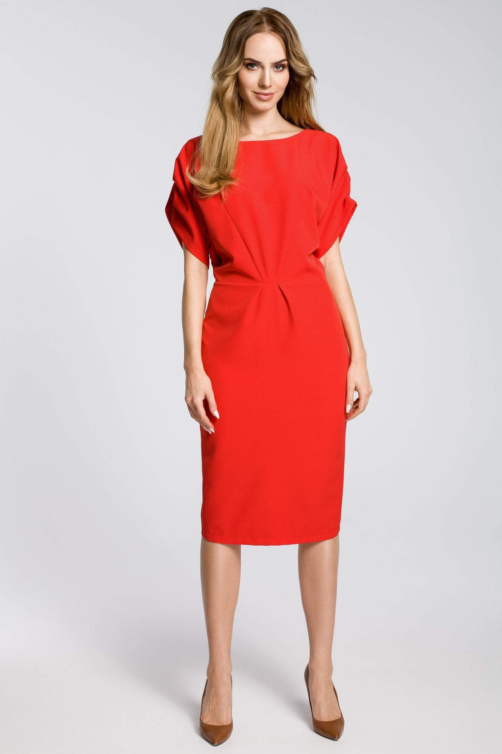 Red Midi Sheath Dress With Kimono Sleeves - So Chic Boutique