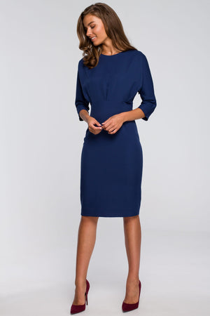 Pencil Navy Blue Dress With Fitted Waist And Kimono Top - So Chic Boutique