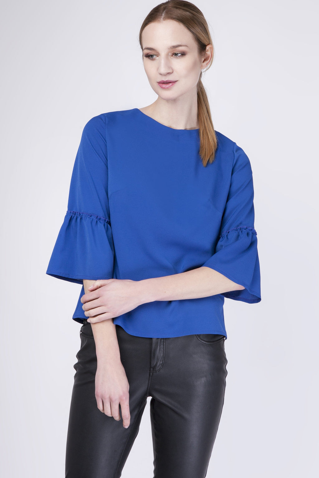 Blue Blouse With 3/4 Bell Sleeves - So Chic Boutique